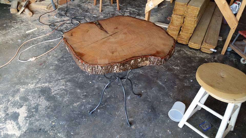 log plant stand log projects